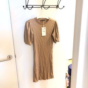 NWT ZARA puff sleeve ribbed dress